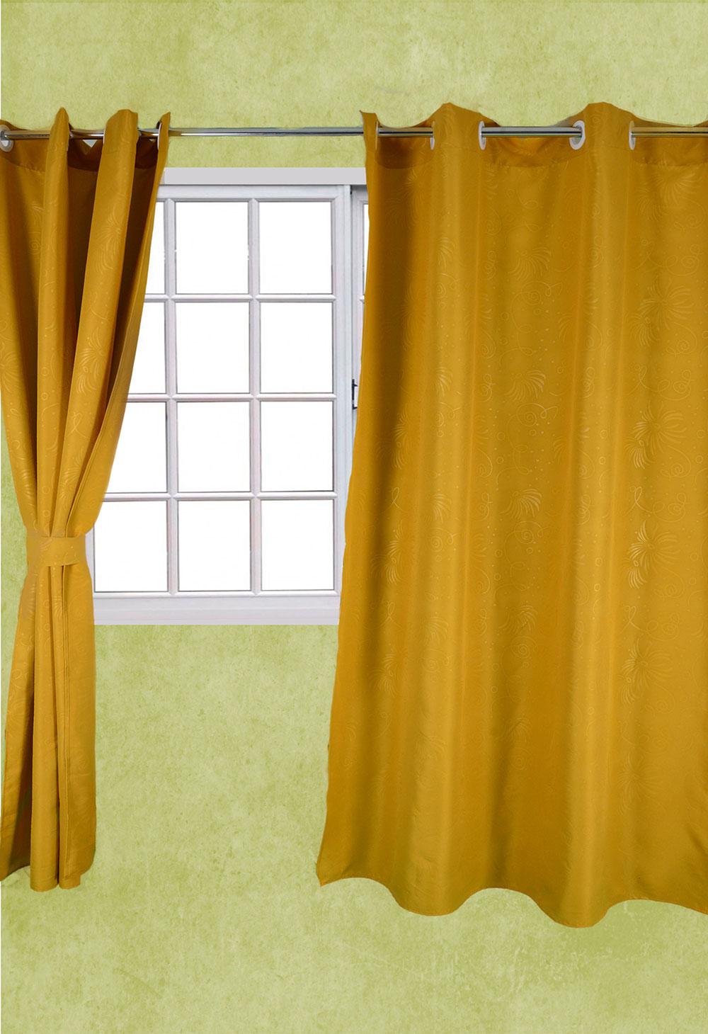 cortina tela troquelada set 2uds ojalon